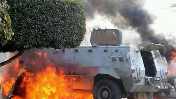 انفجار عبوة ناسفة أسفل مدرعة للشرطة فى بنى سويف