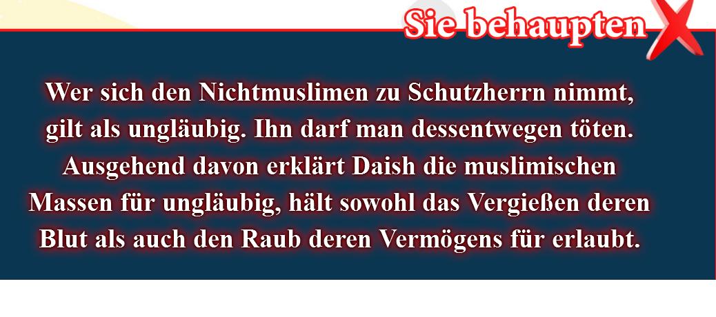 8- Falsche Überzeugungen, korrigiert: Wer sich den Nichtmuslimen zu Schutzherrn nimmt, gilt als ungläubig