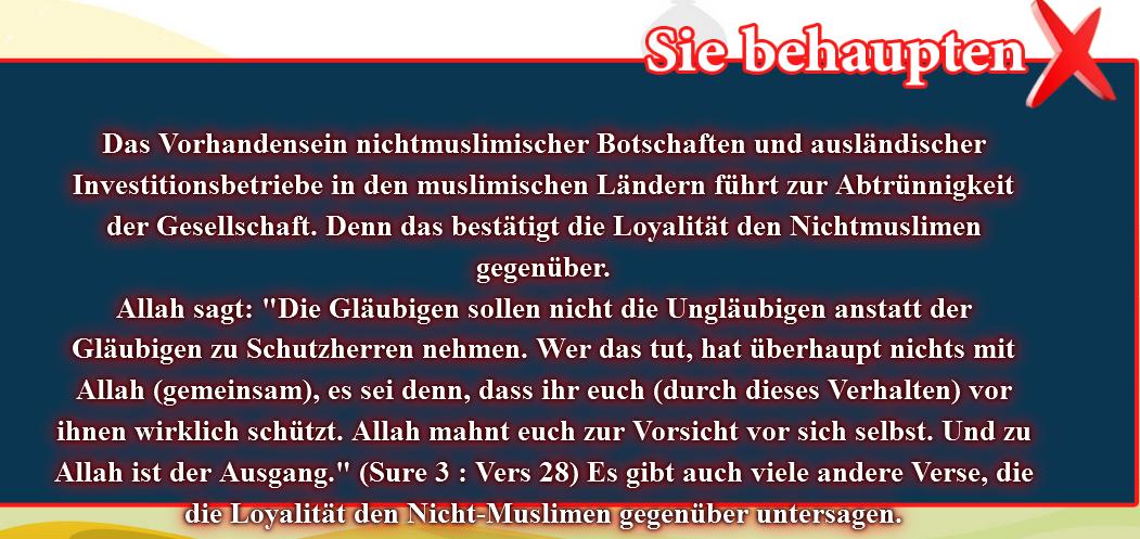 9- Falsche Überzeugungen, korrigiert: Das Vorhandensein nichtmuslimischer Botschaften führt zur Abtrünnigkeit
